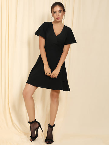 Black Flare Wrap Mini Dress