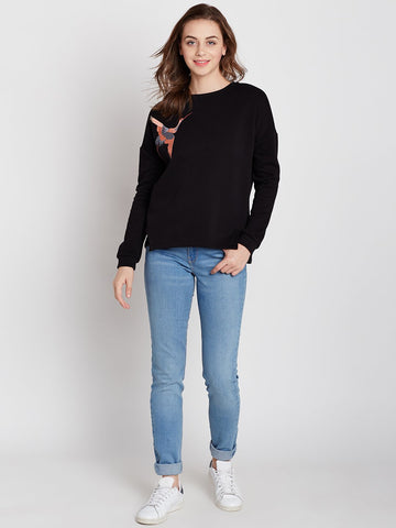 Black Bird Embroidered Sweatshirt
