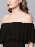 Black Cape Off-shoulder Maxi Dress