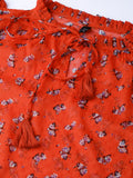 Red Floral Print Dobby Top