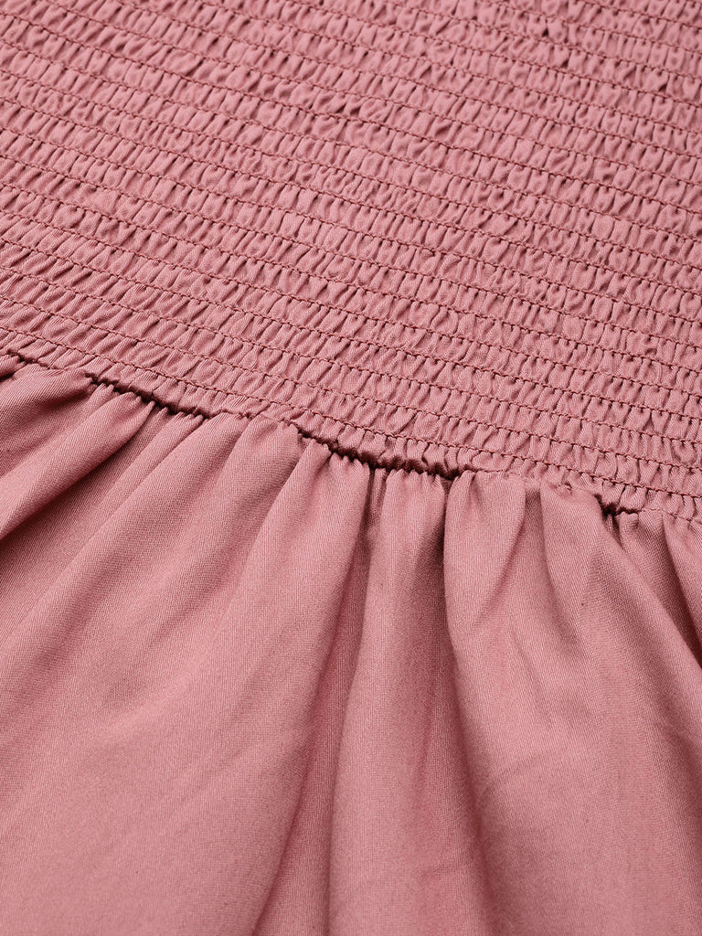 Dusky Pink Cotton Smocked Midi Dress