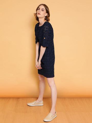 Navy Schiffli Shift Dress