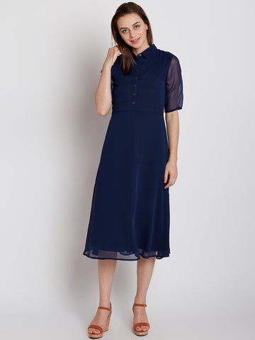 Navy Button Down Midi Dress