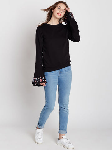 Black Embroidered Bell Sleeve Sweatshirt