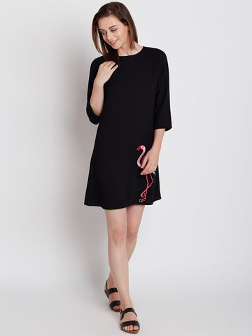 Black Flamingo Embroidered Mini Dress