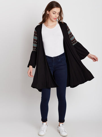 Black smocked sleeve shrug