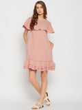 Rose Pink Lace Yoke Mini Dress