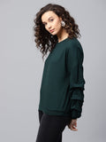 Emerald Sleeve Gathered Detail Sweatshirt
