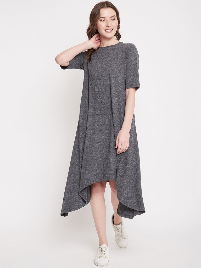 Grey Melange Jersey Midi Dress