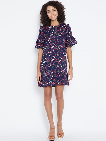 Navy printed ruffle mini dress