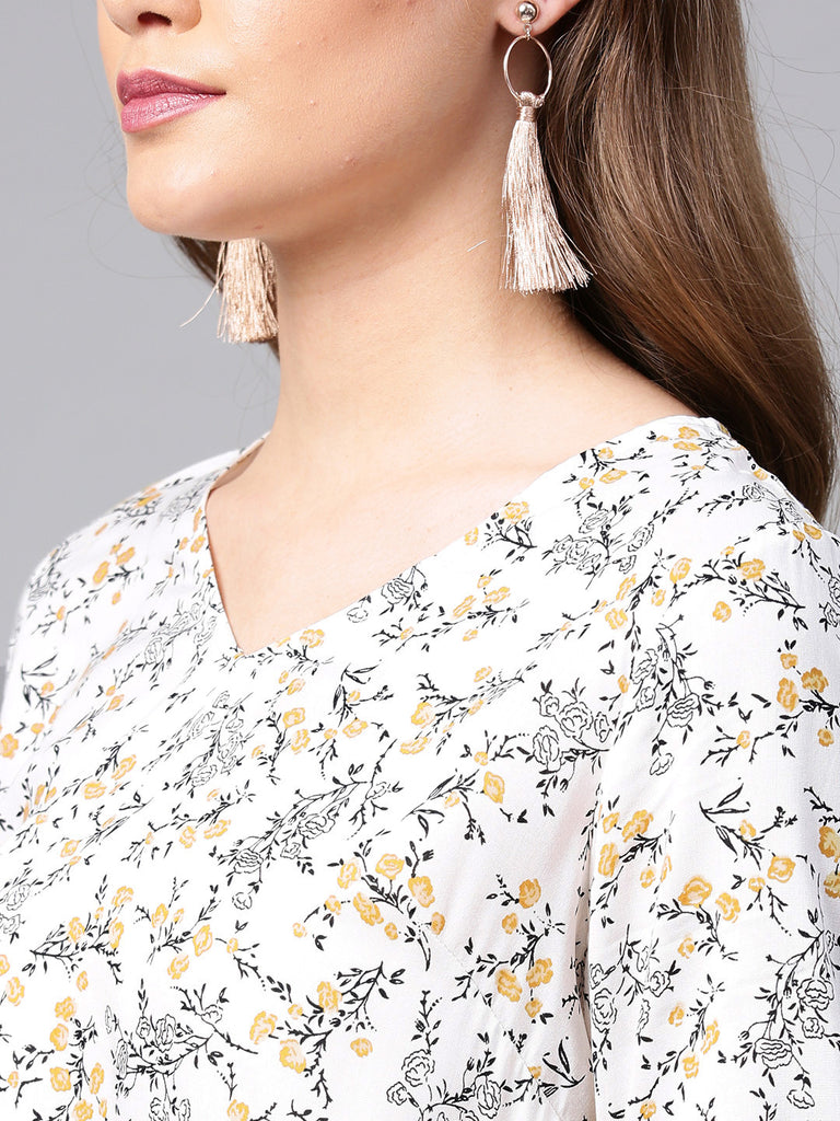 White floral ruffle top