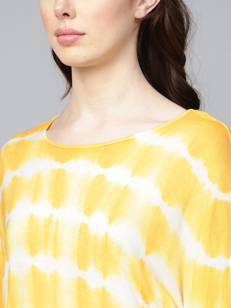 Yellow Tie-Dyed Basic Top