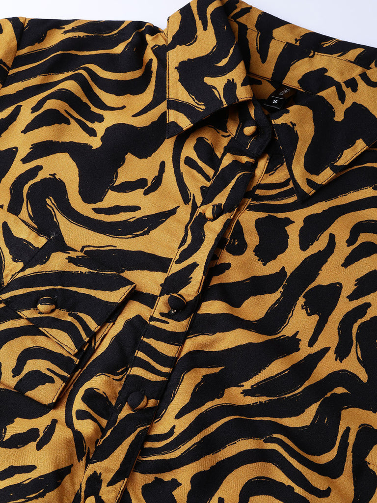 Mustard Abstract Zebra Tunic