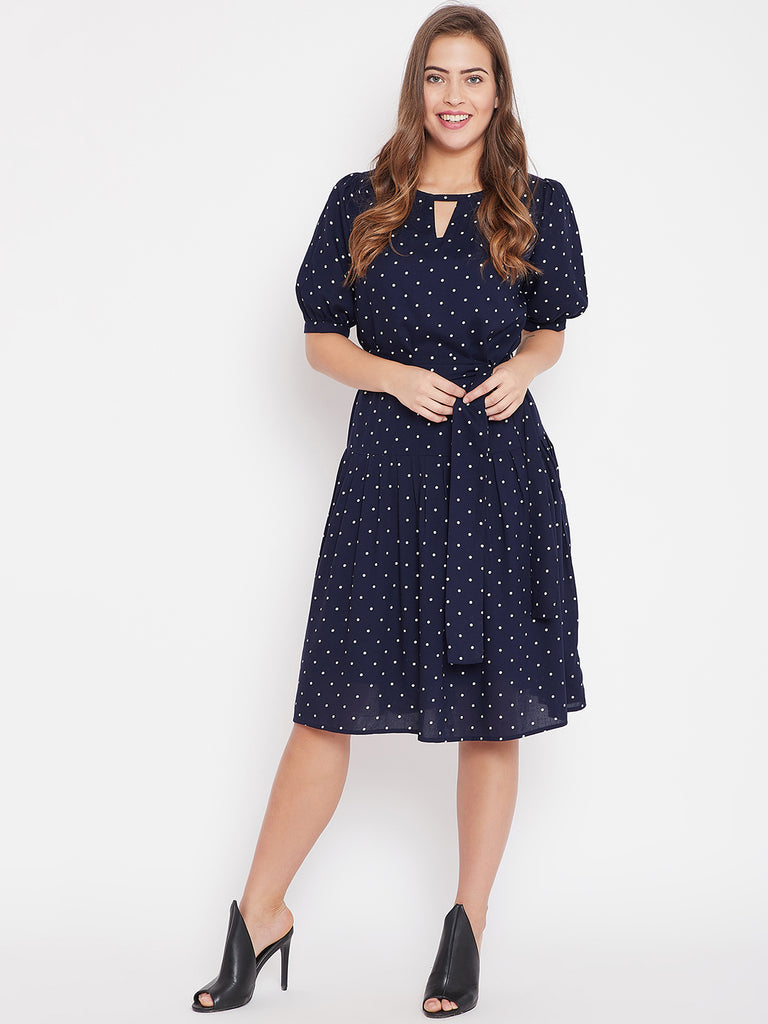 Navy Polka Dot Pleat Detail Dress