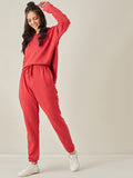 Red Melange Zip Up Sweatshirt