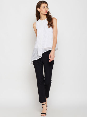 White Asymmetric Ruffle Dobby Top