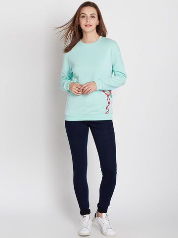 Mint green embroidered sweatshirt
