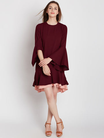 Wine Colour Block Ruffle Dress