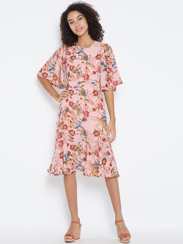 Blush printed button detail midi