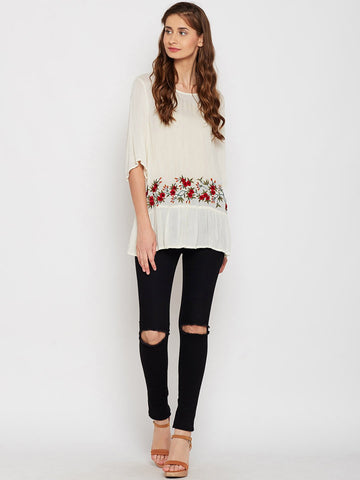 Ecru Oversized Embroidered Top