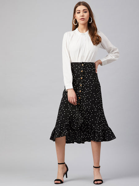 Black Polka Ruffle Detail Midi Skirt