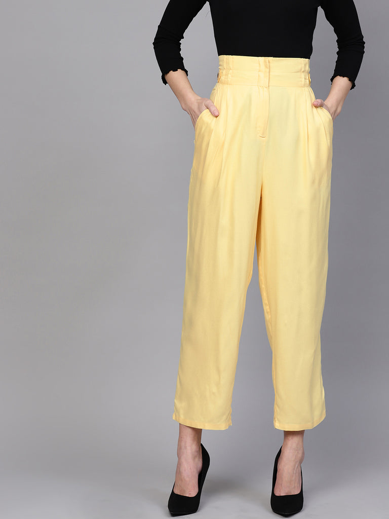 Lemon yellow paperbag pants