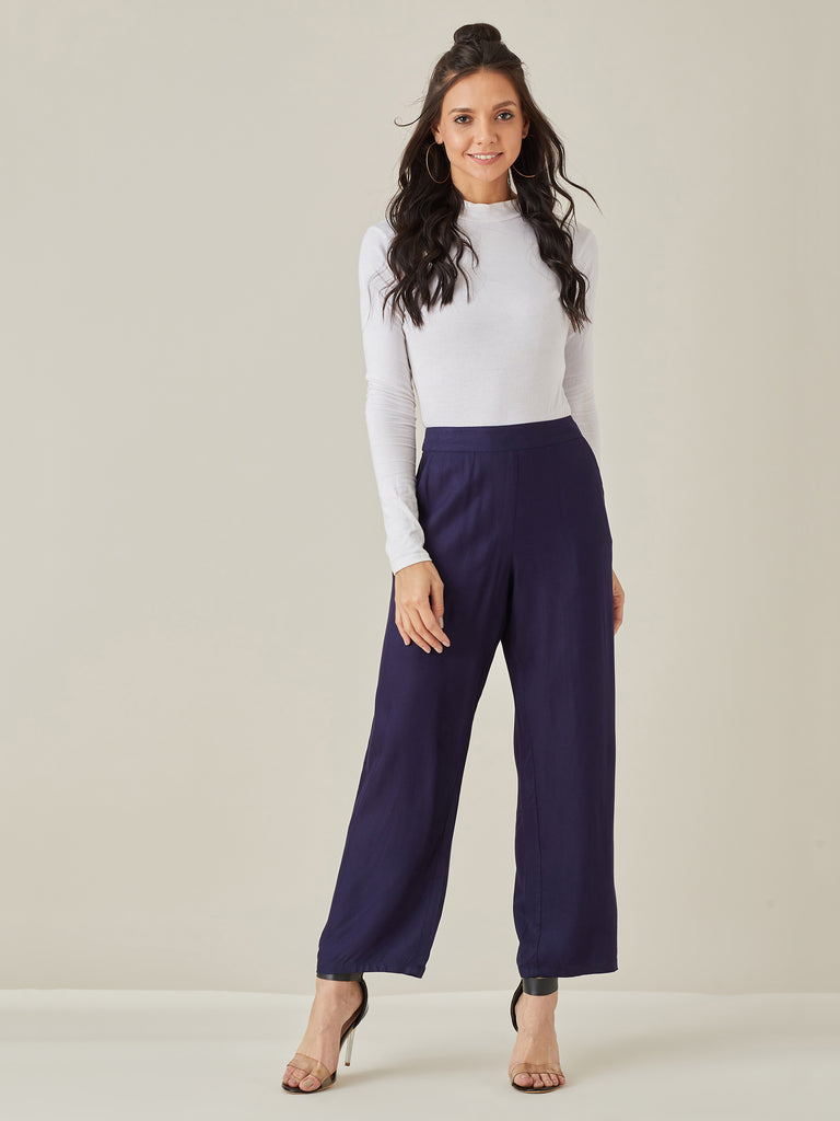 Navy Straight Leg Twill Pants