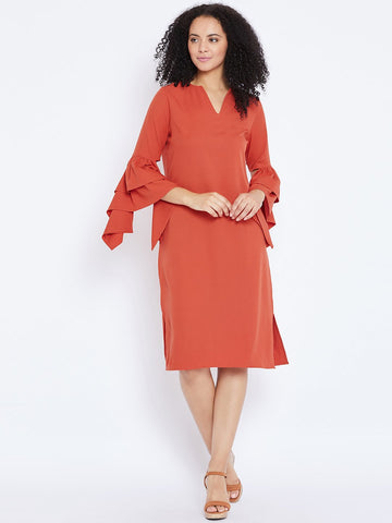 Rust tiered flared cuffs midi