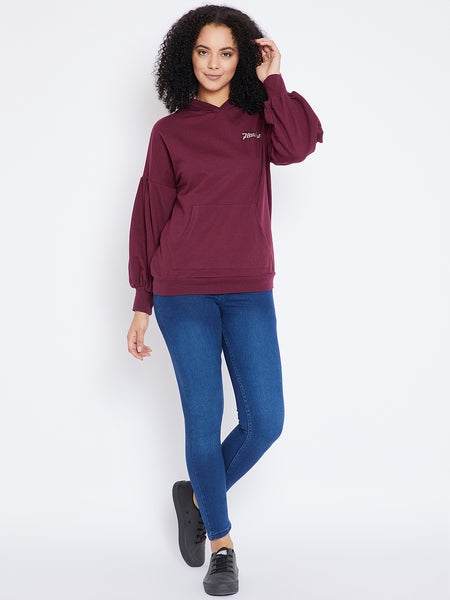 Wine embroidered oversized sweatshirt