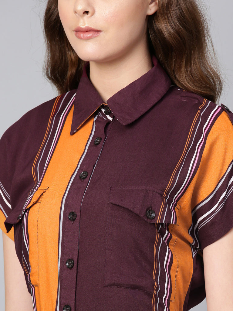 Burgundy Stripe Button Down Mini