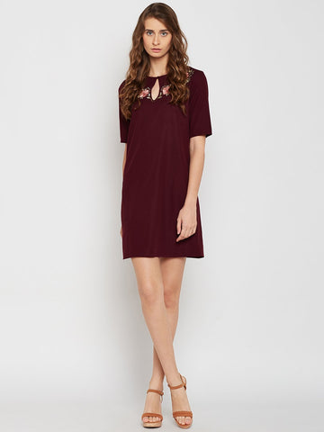 Maroon embroidered shift mini dress