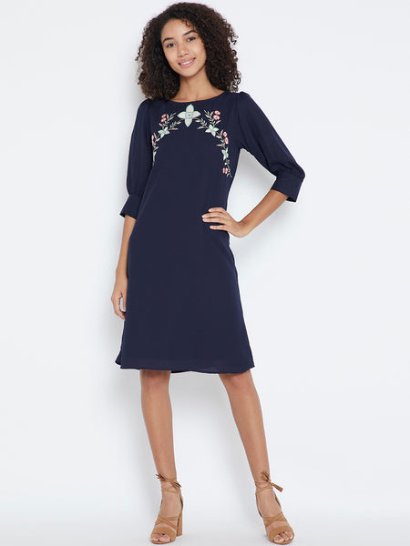 Navy embroidered puffed sleeves dress