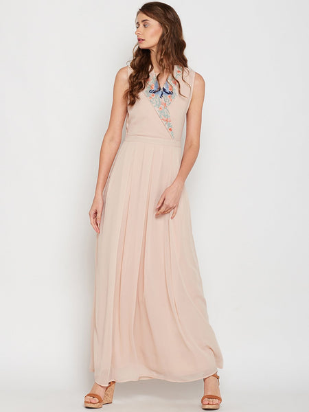 Blush Lapel Embroidered Maxi