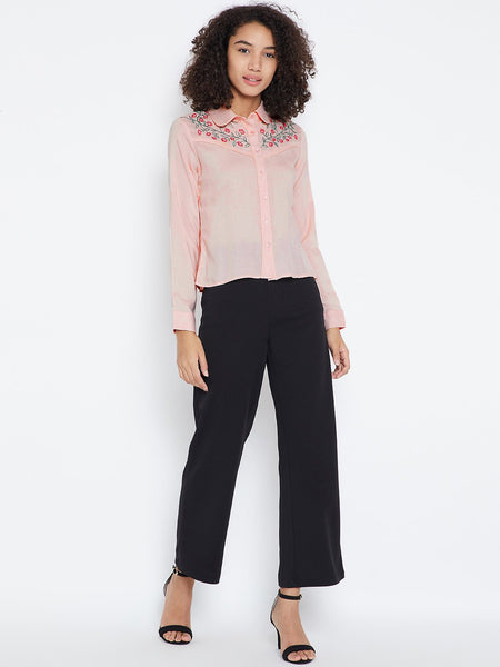 Blush yoke embroidered shirt