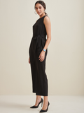 Black Sleeveless Formal Belted Jumpsuit