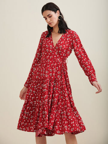 Red Floral Midi Wrap Dress