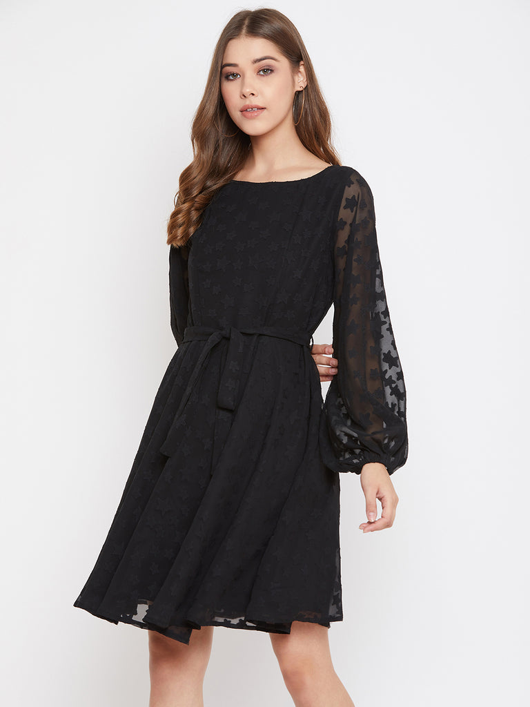Black Textured Fit And Flare Belted Dress