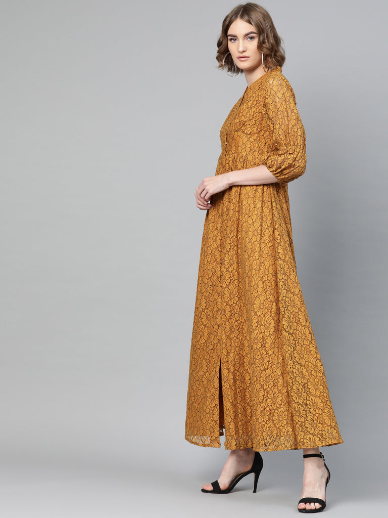 Mustard Lace Button Down Maxi Dress