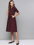 Wine Cotton Fit & Flare Midi Dress