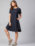 Blue Distressed Jersey T-Shirt Dress