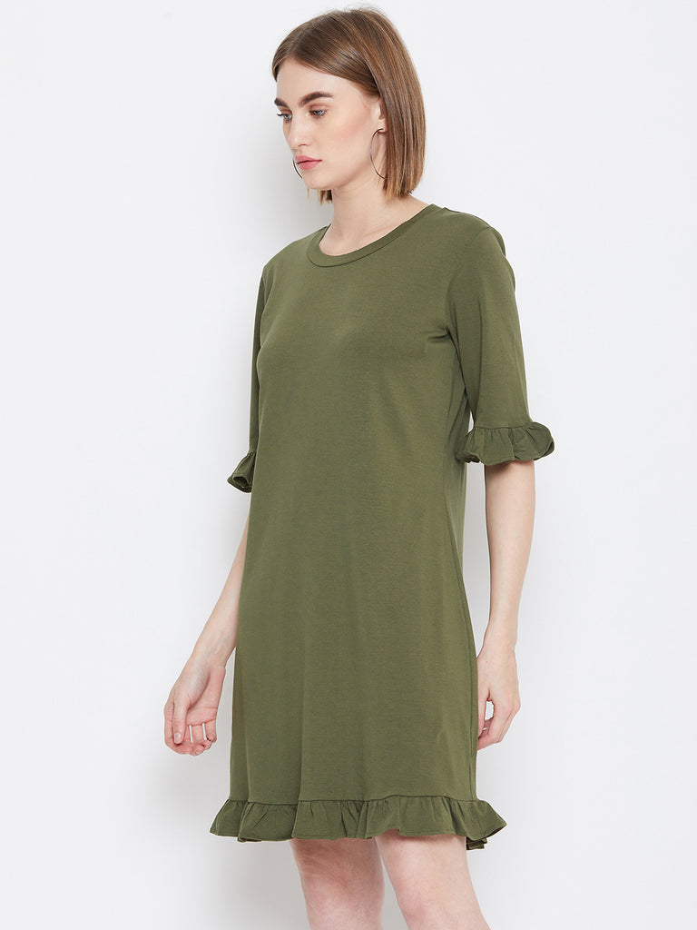 Olive Ruffled Up Mini Dress