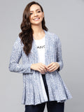 Blue abstract print knit waterfall shrug