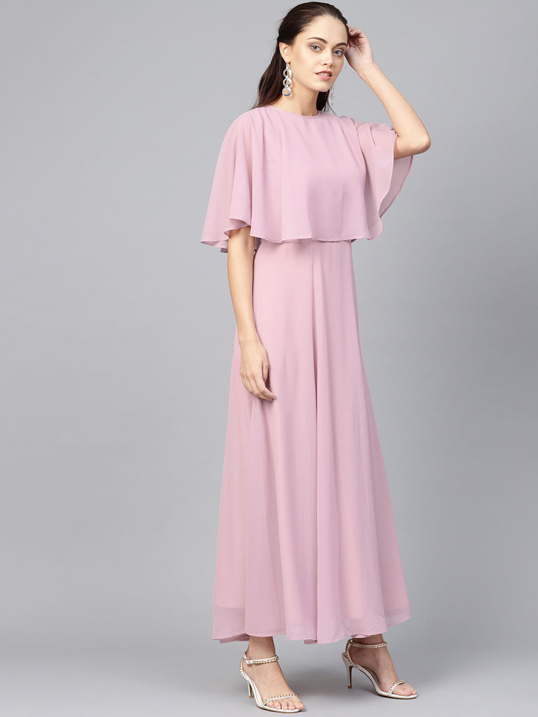 Lilac Cape Overlay Maxi Dress