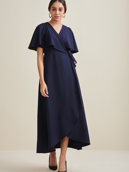 Navy Wrap Formal Maxi Dress
