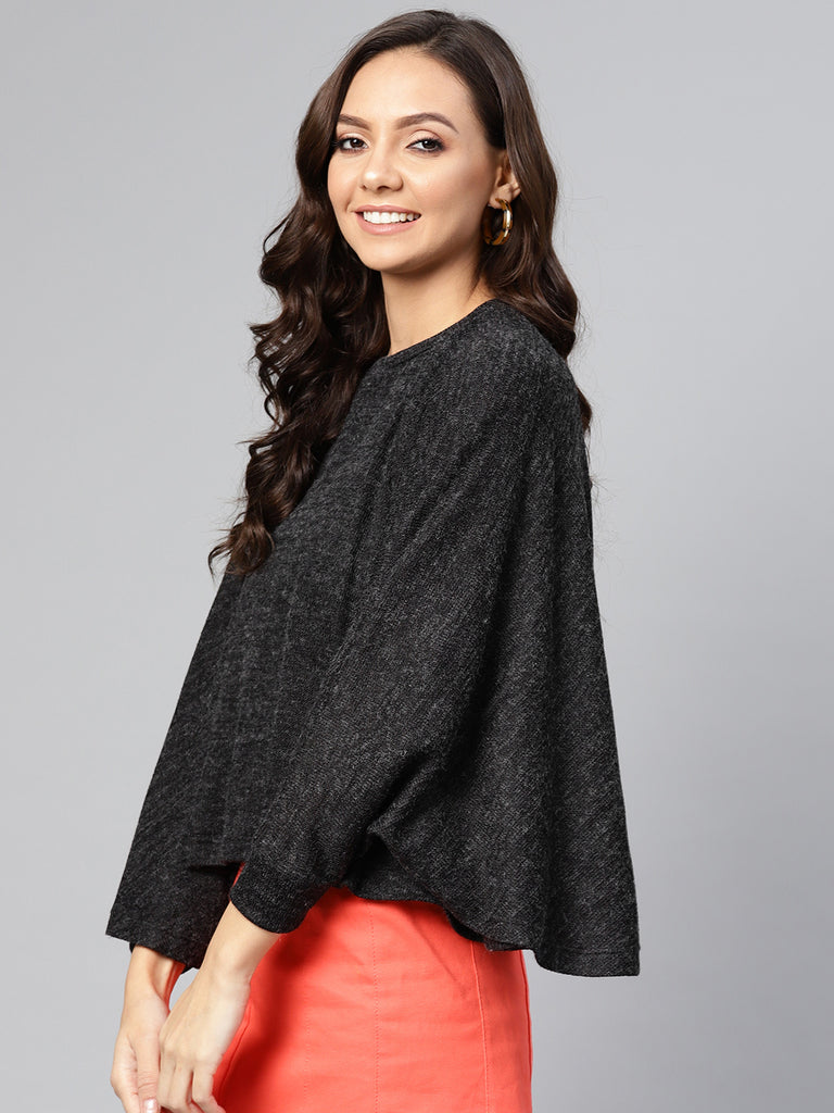 Black Melange Poncho Top