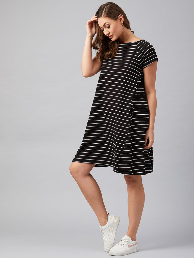 Black and White Stripe Jersey Swing Dress