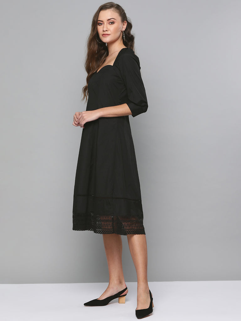 Black Cotton Laced Fit & Flare Midi Dress