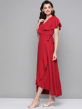 Red Cape Wrap Maxi Dress