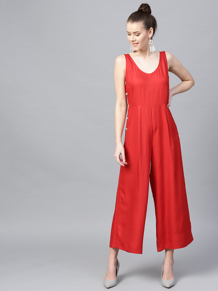 Red Side-Button Down Jumpsuit