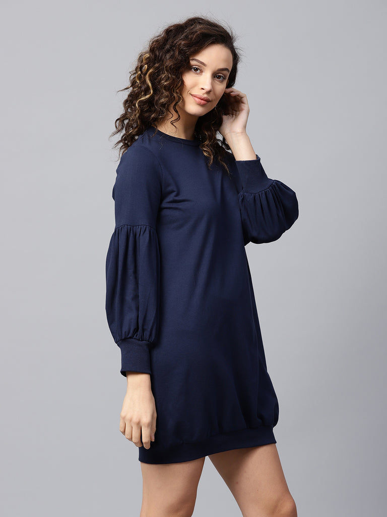 Navy Flounce Sleeve Sweatshirt Dress